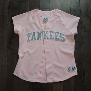 MLB New York Yankees Majestic Pink Jersey Size S